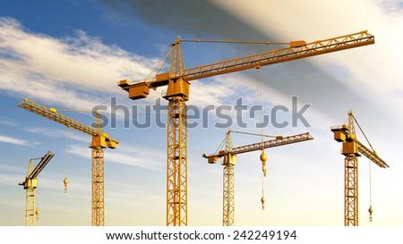 Construction Cranes Computer generated 3D illustration - stock photo