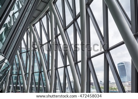 Construction detail of a modern building of glass and steel