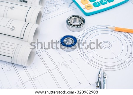 Construction drawings slide caliper roller bearings on blueprint architecture and building concept. - stock photo