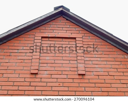 Construction element, the roof of the house of red bricks. - stock photo