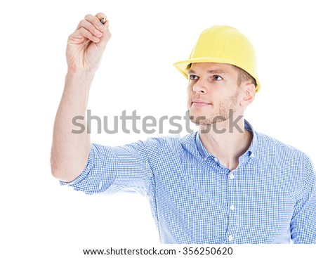 Construction engineer drawing - stock photo