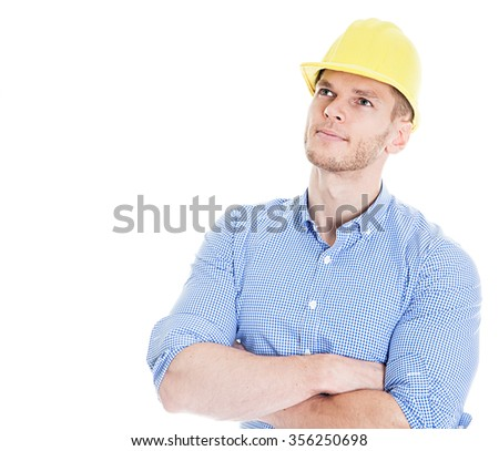 Construction engineer thinking - stock photo