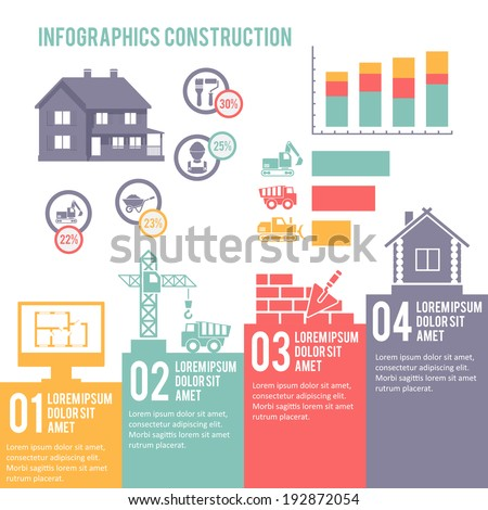 Construction engineering and building infographic elements set  illustration - stock photo