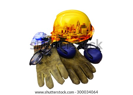 Construction engineers Use personal protective equipment For creative work safely. - stock photo