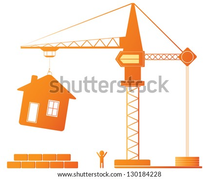 Construction equipment - crane and new house - stock photo