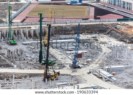 Construction equipment for piling into the ground - stock photo