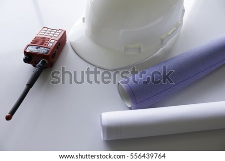 construction equipment on white background