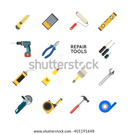 Construction equipment set. Working tools for repair and construction. Hand drill, saw, level, hammer, screwdriver and other construction tools. Home repair set isolated on white background. - stock photo