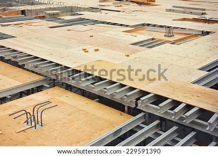 Construction for an apartment floor is underway. - stock photo