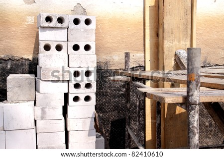 Construction - foundation for a new house - stock photo