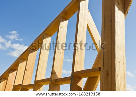 Construction frame made out of wood to create a wall.    - stock photo