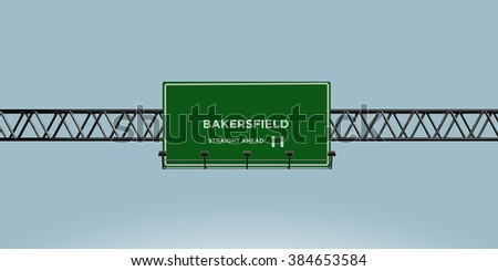 construction green road sign bakersfield straight ahead