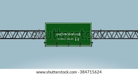 construction green road sign jacksonville straight ahead