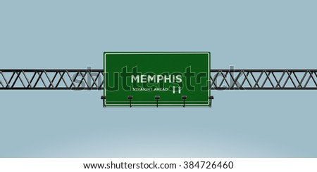 construction green road sign memphis straight ahead