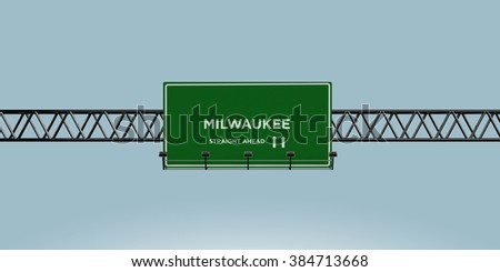 construction green road sign milwaukee straight ahead