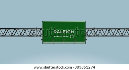 construction green road sign raleigh straight ahead