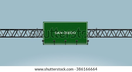 construction green road sign san diego