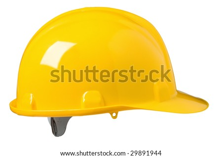 Construction hard hat on white - stock photo