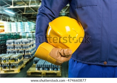 Construction hat in factory.