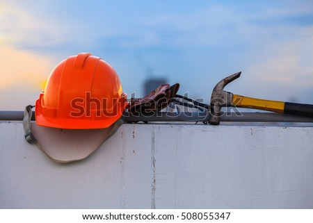 Construction helmet and Construction Tools on Construction site