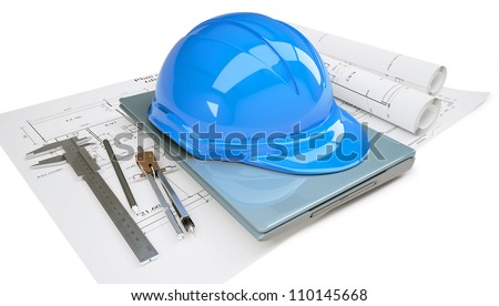 Construction helmet and laptop in the drawings. Isolated on white background - stock photo