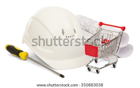 Construction helmet and shopping cart on isolated white background - stock photo