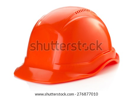 construction helmet isolated on white background - stock photo