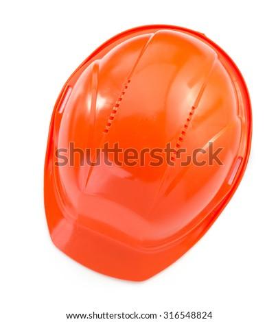 construction helmet isolated on white background - stock photo