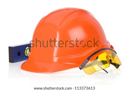 construction helmet tool isolated on white background