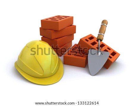 construction helmet with bricks and trowel - stock photo