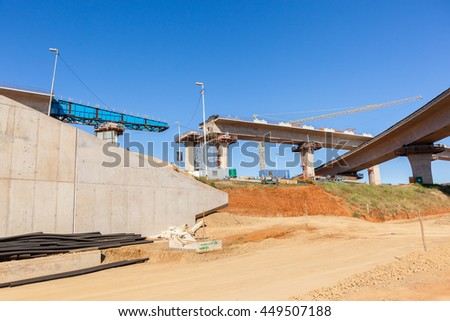 Construction Highway Junction Construction industrial new highway junction flyover ramps in progress for vehicle traffic flow