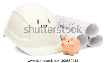 Construction house. Drawings for building and helmet on white a background. - stock photo