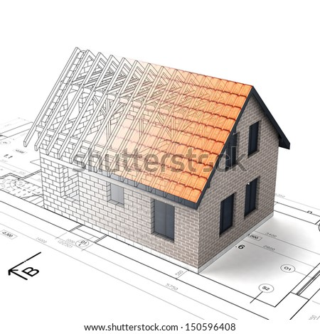 construction house plan design blend transition illustration - stock photo