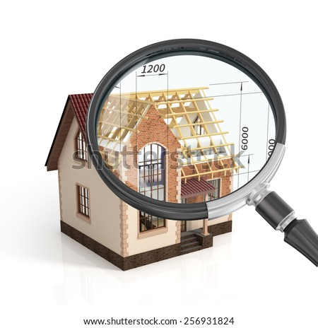 Construction house plan design blend transition illustration in magnifier. Construction process with dimension. - stock photo