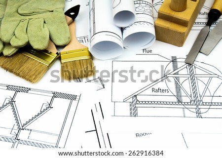 Construction house. Repair work. Joiner's works. Drawings for building and working tools.