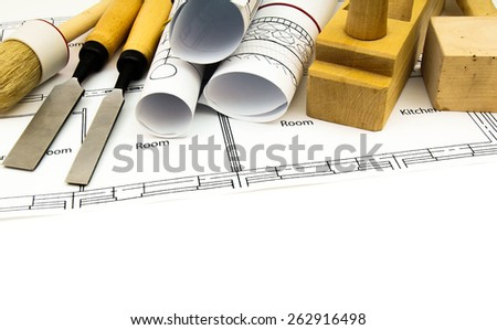 Construction house. Repair work. Joiner's works. Drawings for building and working tools on white background. - stock photo