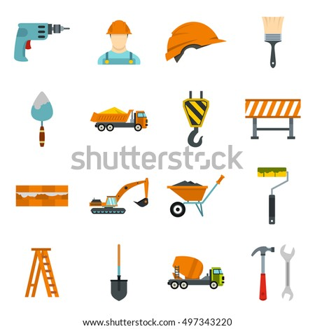 Construction icons set in flat style. Building tools set collection  illustration