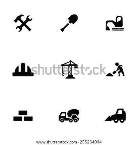 construction 9 icons set, isolated, black on white background - stock photo
