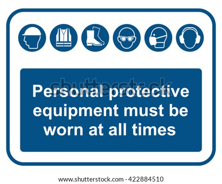 Construction industry mandatory wear personal protection equipment sign to British standard 5499 ISO EN 7010 isolated on white background - stock photo
