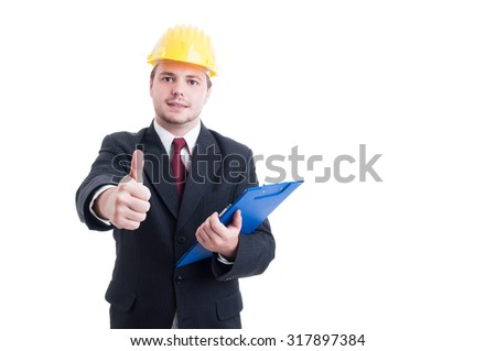 Construction inspector with suit hardhat and clipboard showing like or thumb-up isolated on white - stock photo