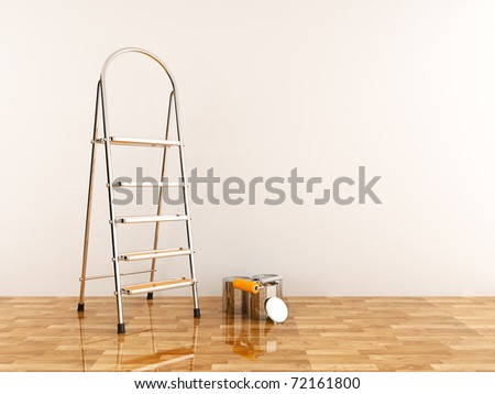 Construction ladder on a white wall. Stepladder - stock photo