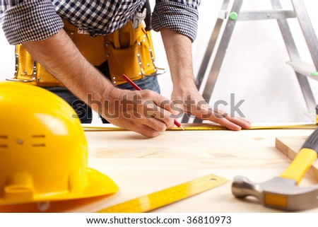 construction layout ( selective focus on writing part of pencil) - stock photo
