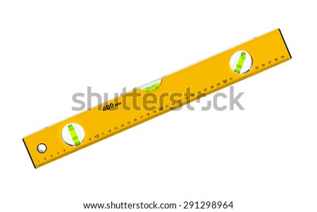 Construction level ruler isolated on white background - stock photo