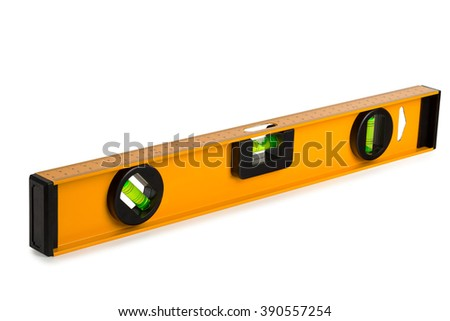 construction level with a ruler on a white background