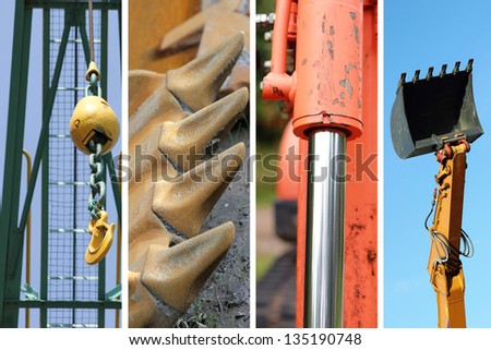 construction machine part collection - stock photo