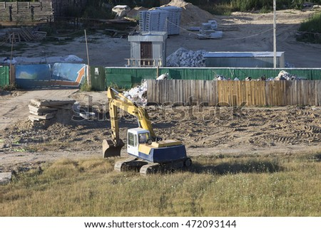 Construction machinery. Excavator works