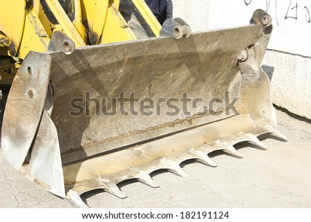 Construction machinery in a railroad construction site. - stock photo