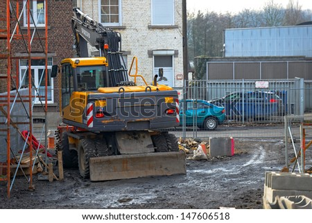 Construction machines at a construction site