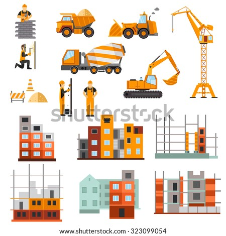 Construction machines builders and house building process decorative icons flat set isolated  illustration - stock photo