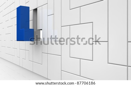 construction made with pieces as an old popular videogame with one piece od different color (3d render) - stock photo